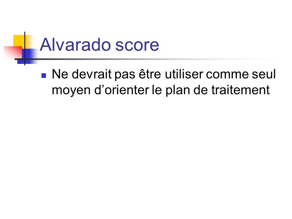 Alvarado score Ne devrait pas être utiliser comme seul moyen d'orienter le plan de traitement