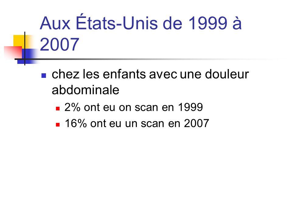 Aux États-Unis de 1999 à 2007 chez les enfants avec une douleur abdominale. 2% ont eu on scan en 1999.