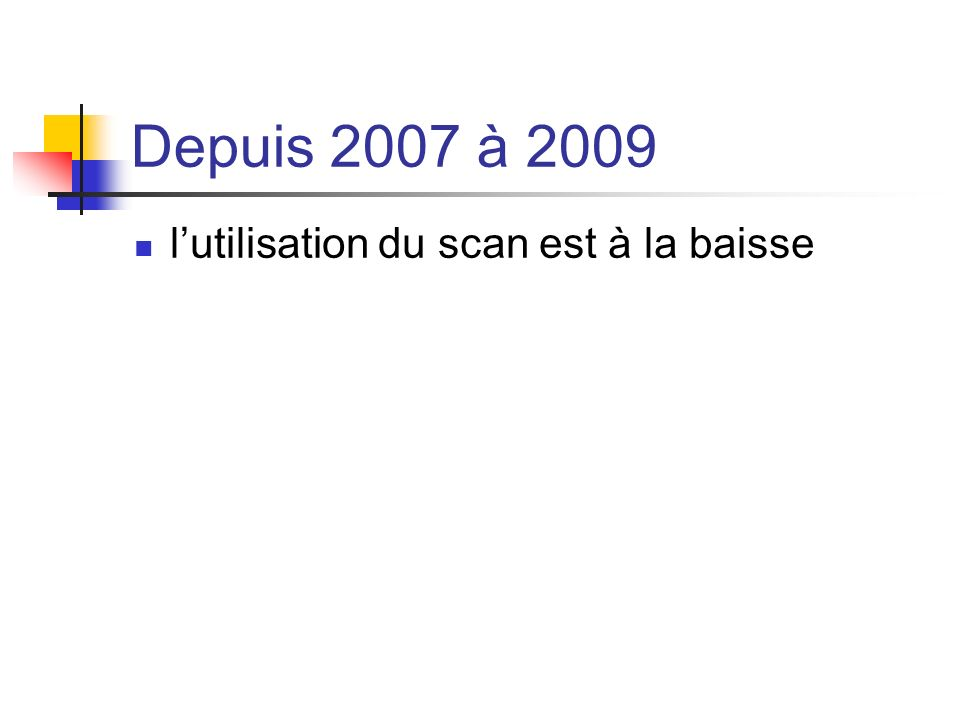 Depuis 2007 à 2009 l'utilisation du scan est à la baisse
