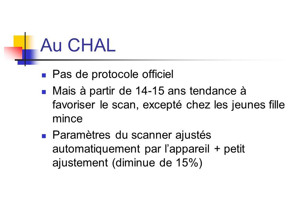 Au CHAL Pas de protocole officiel