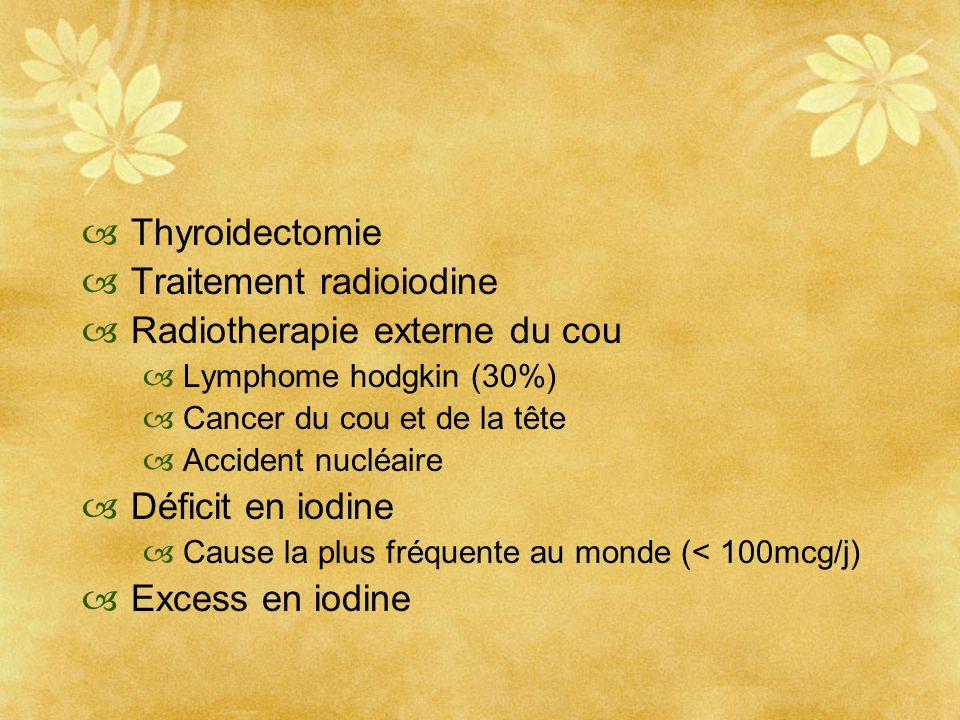 Traitement radioiodine Radiotherapie externe du cou