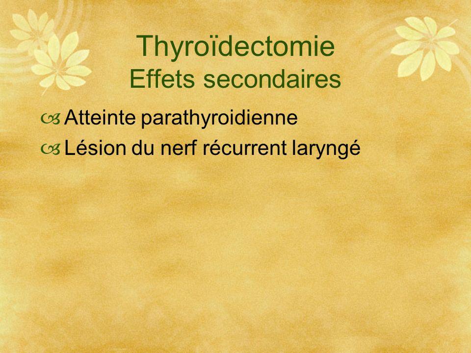 Thyroïdectomie Effets secondaires