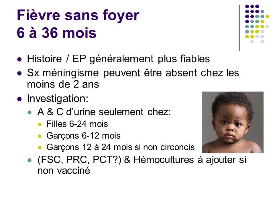 Fièvre sans foyer 6 à 36 mois
