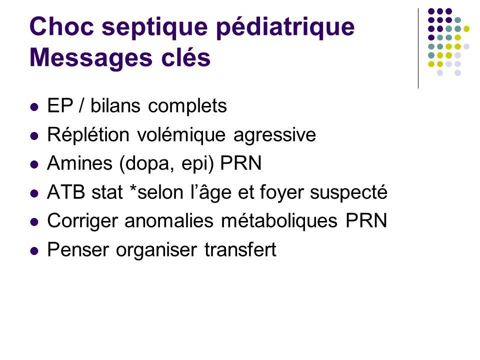 Choc septique pédiatrique Messages clés