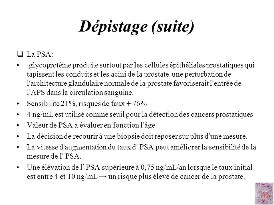 Dépistage (suite) La PSA: