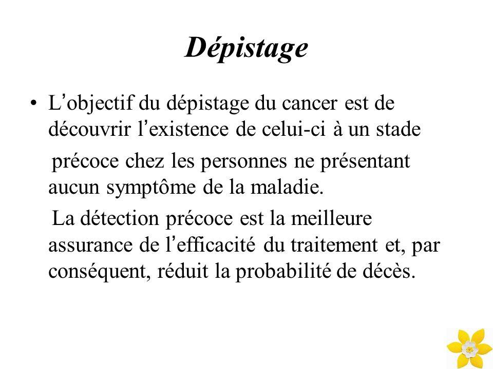 Dépistage L'objectif du dépistage du cancer est de découvrir l'existence de celui-ci à un stade.