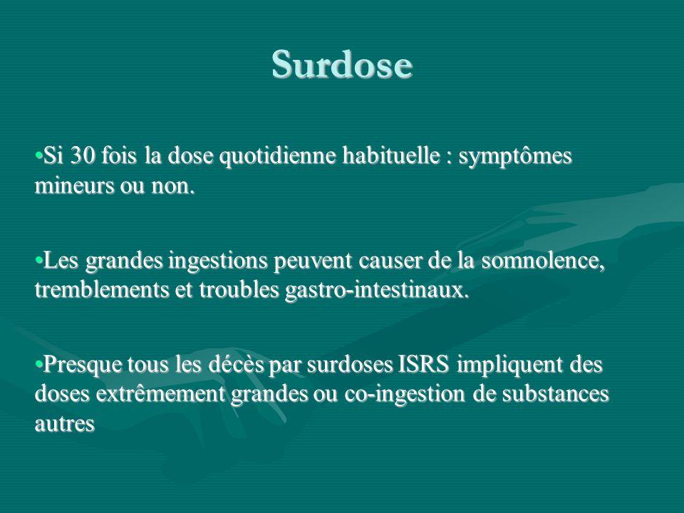 Surdose Si 30 fois la dose quotidienne habituelle : symptômes mineurs ou non.