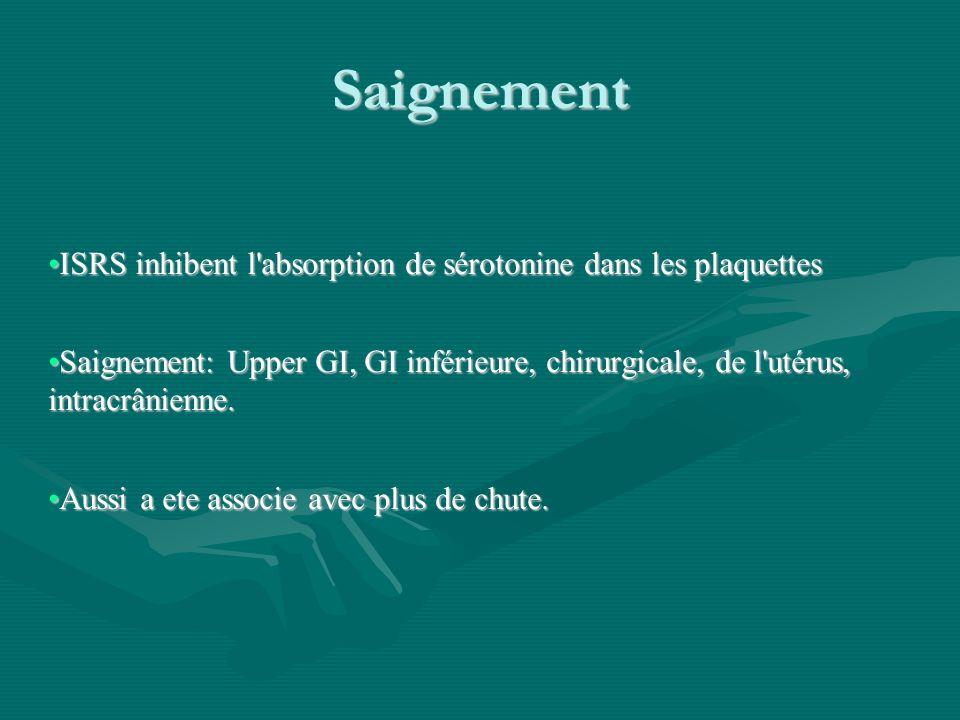 Saignement ISRS inhibent l absorption de sérotonine dans les plaquettes.