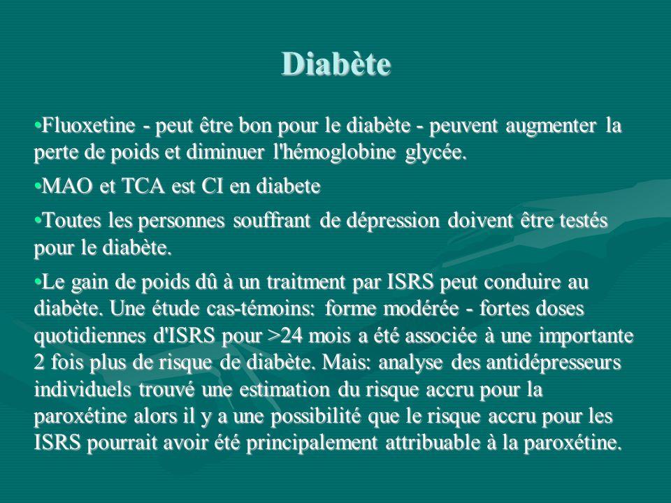 Diabète Fluoxetine - peut être bon pour le diabète - peuvent augmenter la perte de poids et diminuer l hémoglobine glycée.
