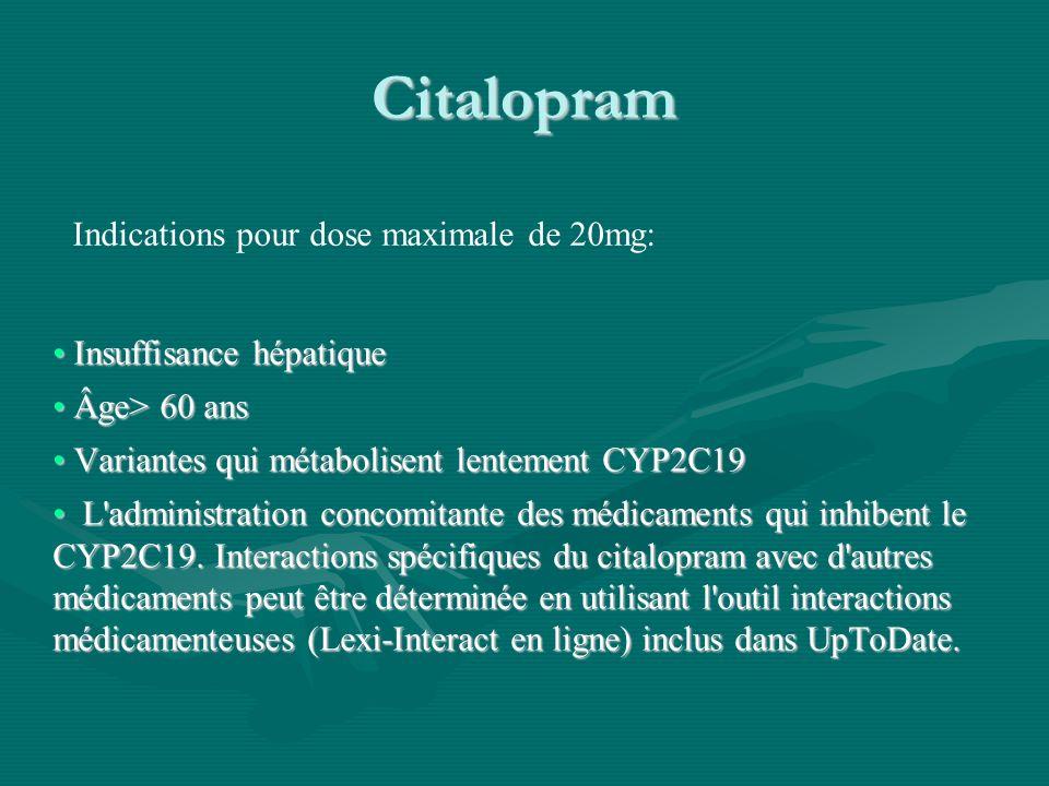 Citalopram Indications pour dose maximale de 20mg: