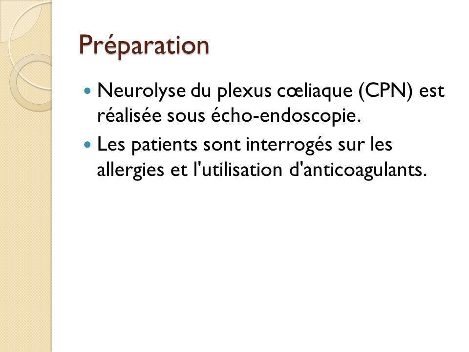PréparationNeurolyse du plexus cœliaque (CPN) est réalisée sous écho-endoscopie.