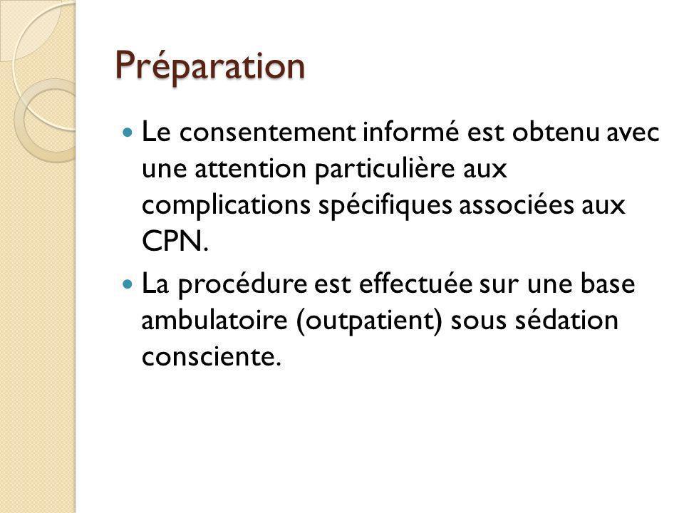 PréparationLe consentement informé est obtenu avec une attention particulière aux complications spécifiques associées aux CPN.