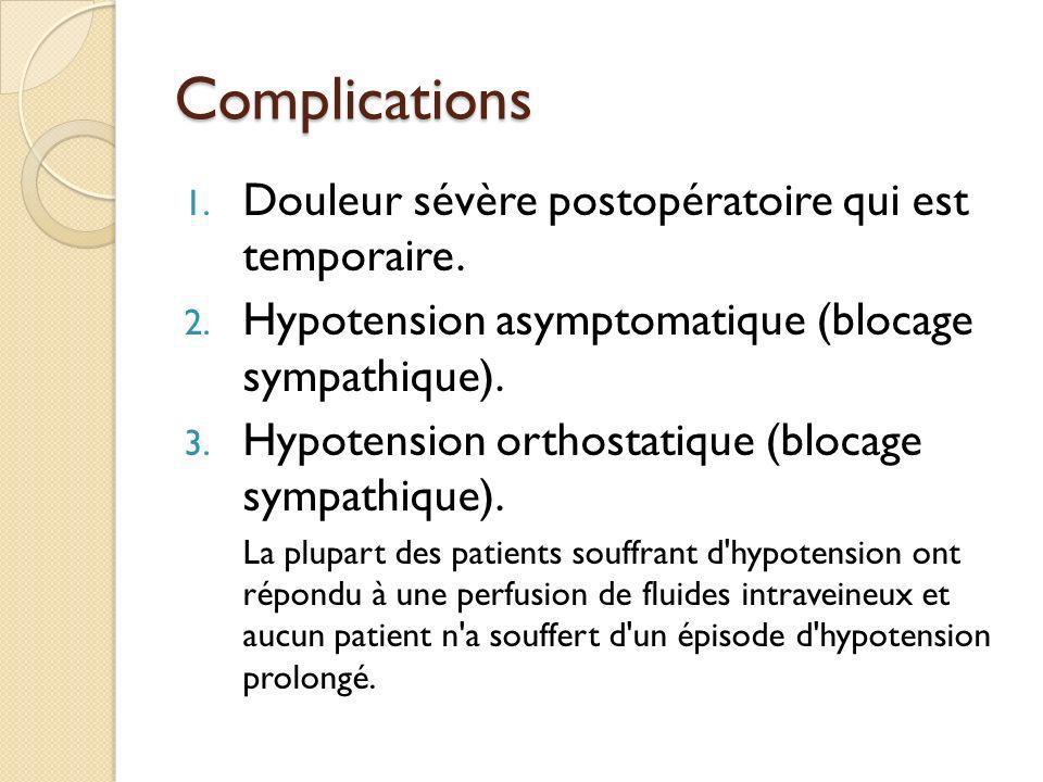 Complications Douleur sévère postopératoire qui est temporaire.