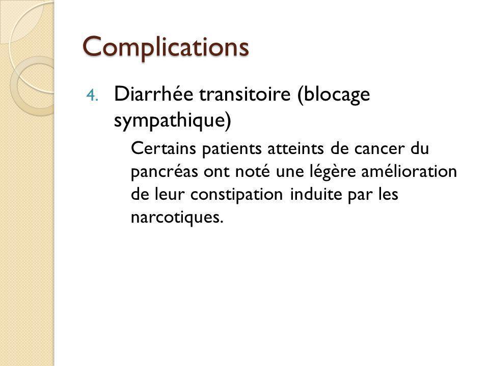 Complications Diarrhée transitoire (blocage sympathique)