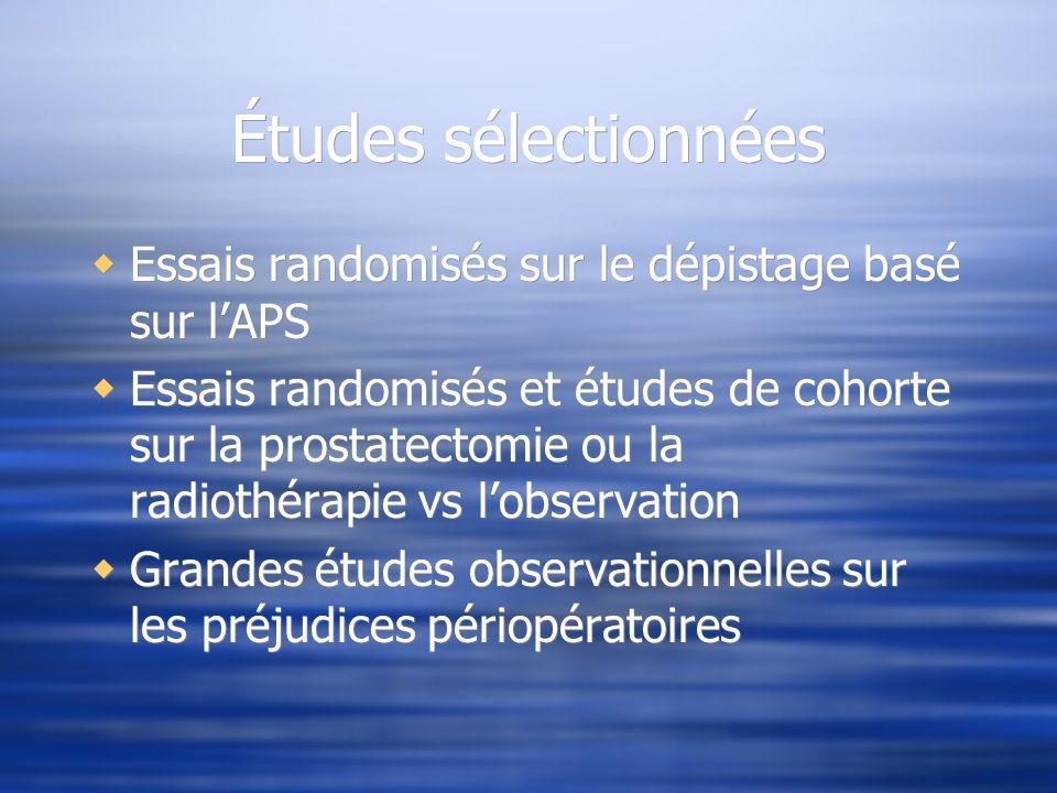 Études sélectionnées Essais randomisés sur le dépistage basé sur l'APS