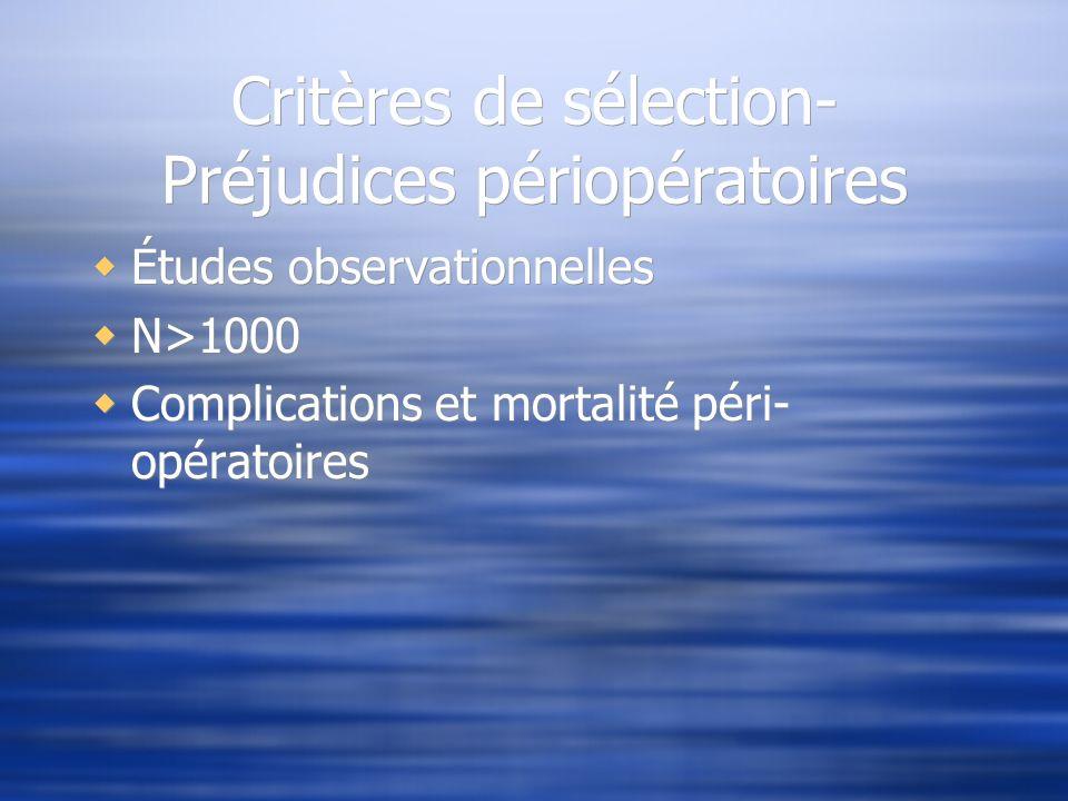 Critères de sélection- Préjudices périopératoires
