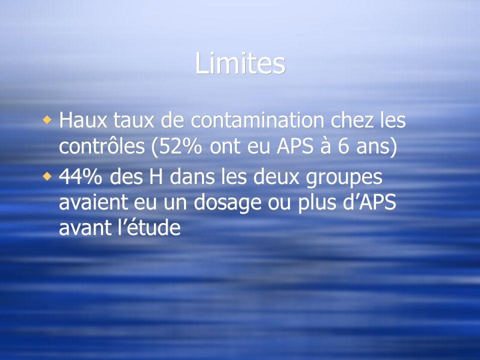 Limites Haux taux de contamination chez les contrôles (52% ont eu APS à 6 ans)