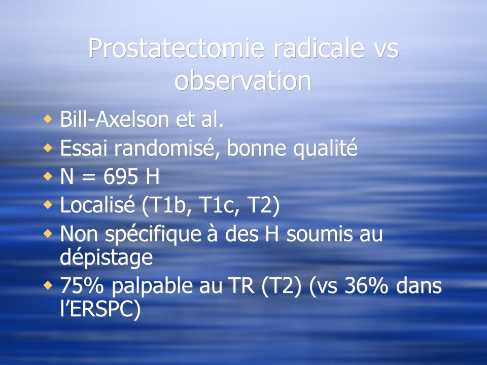 Prostatectomie radicale vs observation