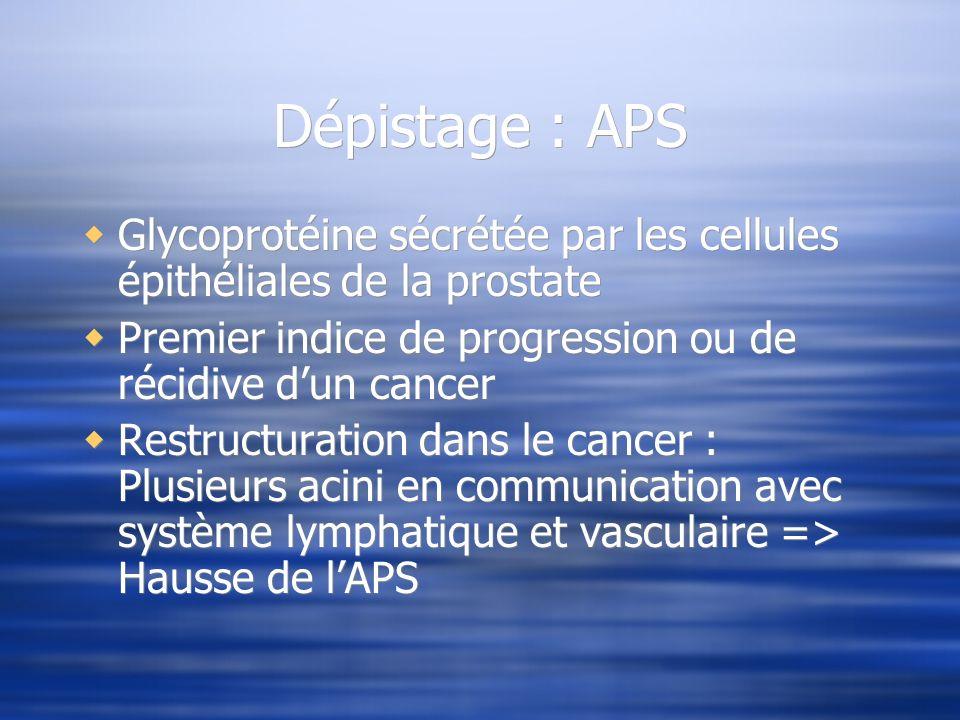 Dépistage : APS Glycoprotéine sécrétée par les cellules épithéliales de la prostate. Premier indice de progression ou de récidive d'un cancer.