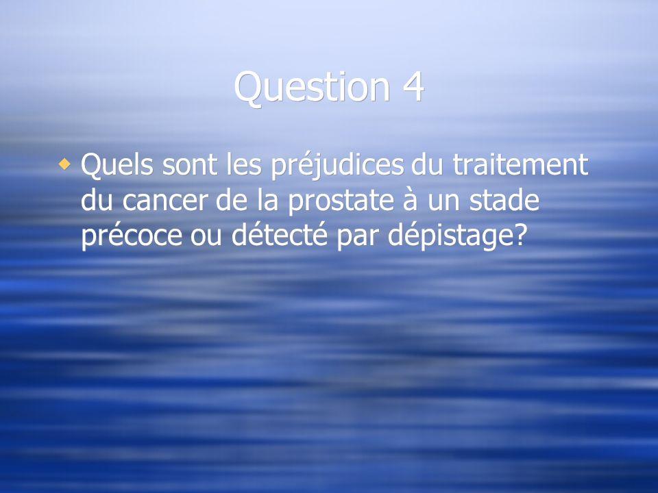 Question 4 Quels sont les préjudices du traitement du cancer de la prostate à un stade précoce ou détecté par dépistage