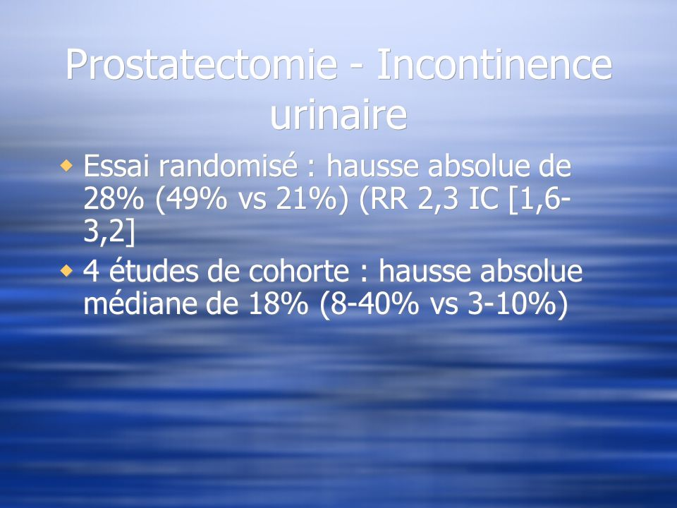 Prostatectomie - Incontinence urinaire
