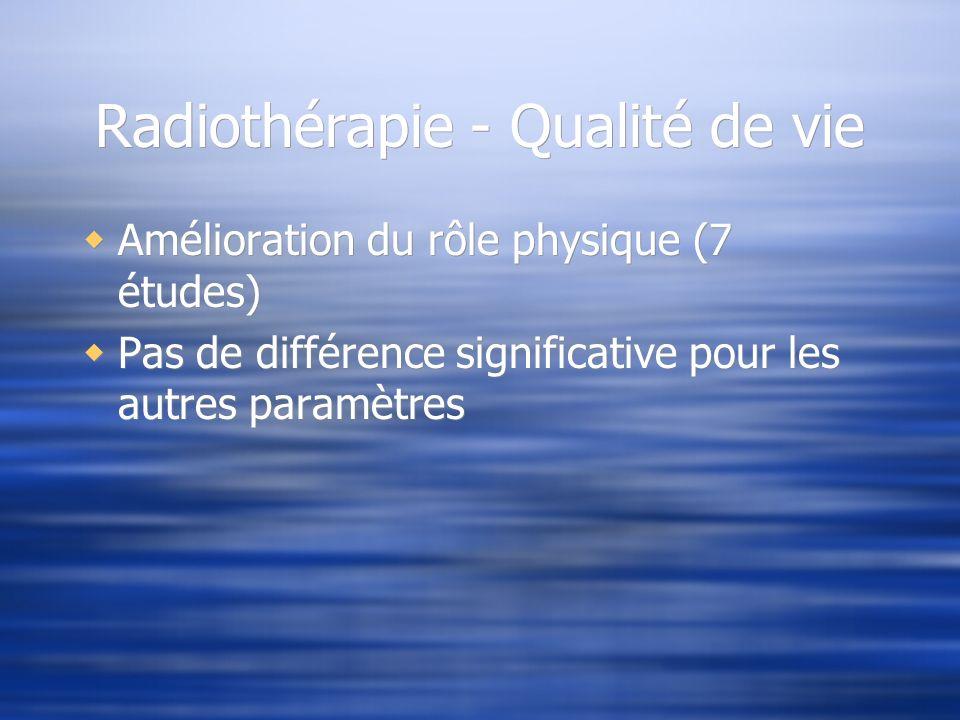 Radiothérapie - Qualité de vie