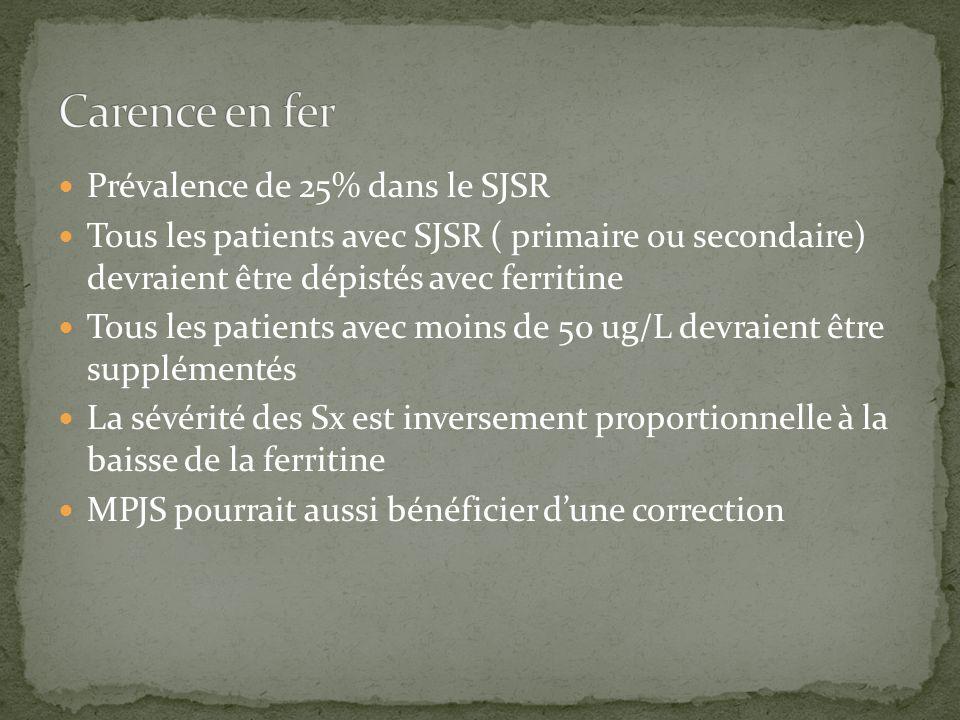 Carence en fer Prévalence de 25% dans le SJSR