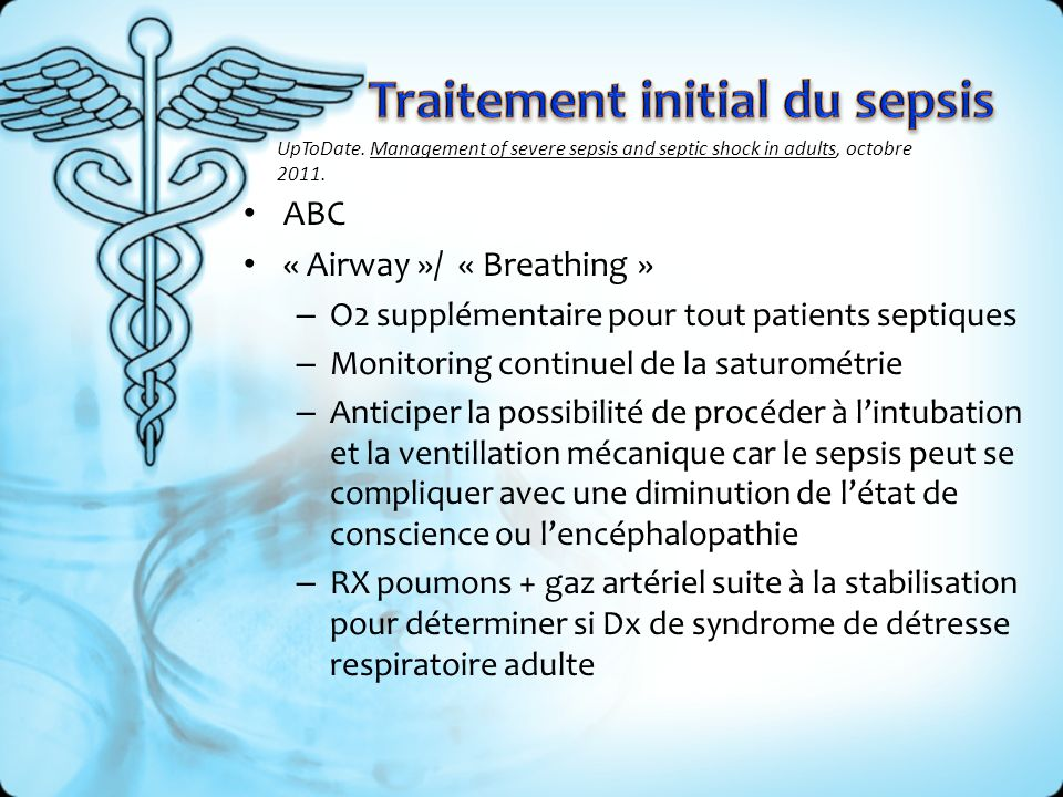 Traitement initial du sepsis