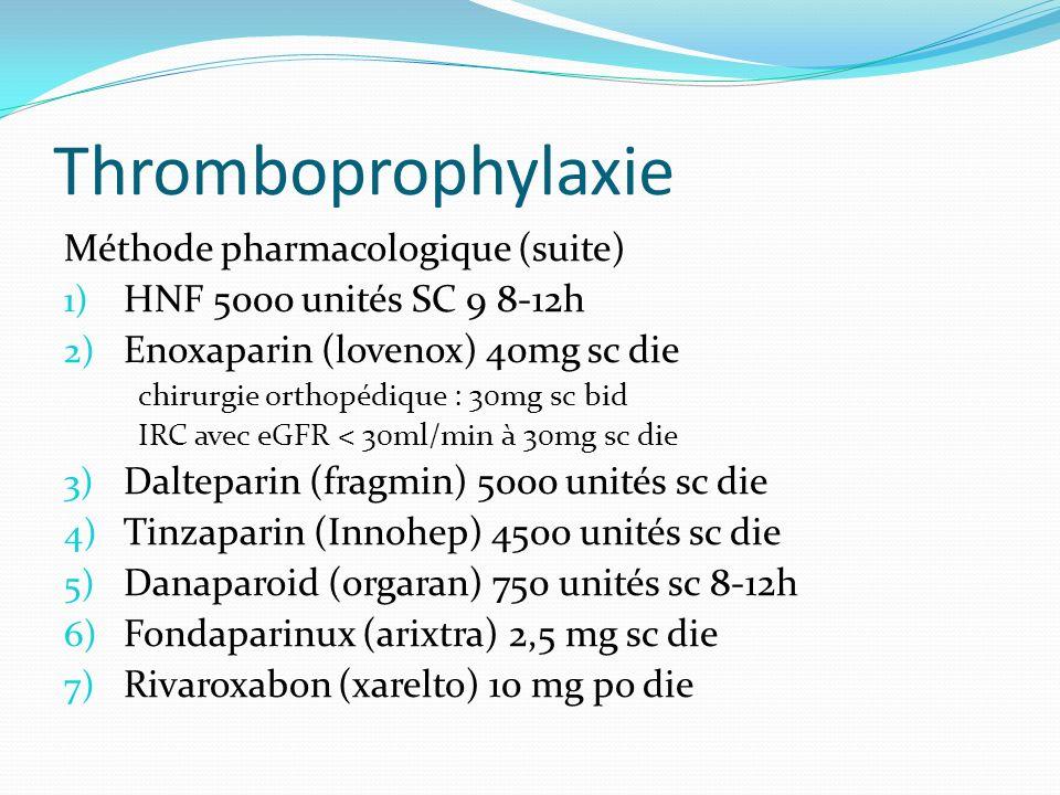 Thromboprophylaxie Méthode pharmacologique (suite)