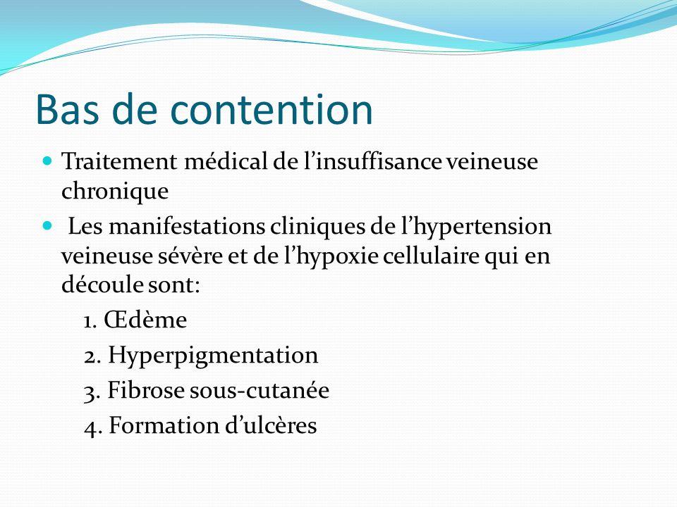 Bas de contention Traitement médical de l'insuffisance veineuse chronique.