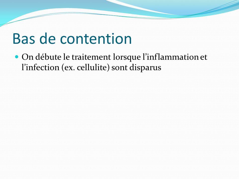 Bas de contention On débute le traitement lorsque l'inflammation et l'infection (ex.