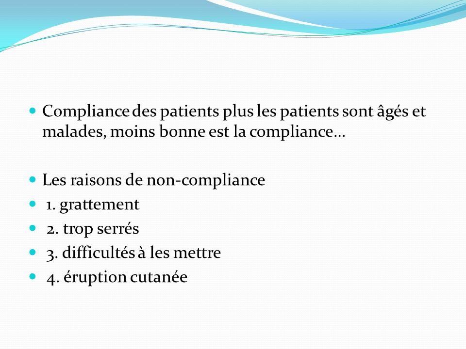 Compliance des patients plus les patients sont âgés et malades, moins bonne est la compliance…