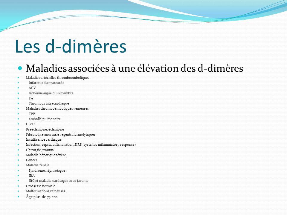 Les d-dimères Maladies associées à une élévation des d-dimères