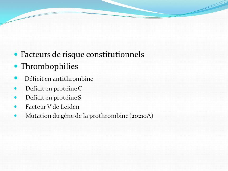 Facteurs de risque constitutionnels Thrombophilies