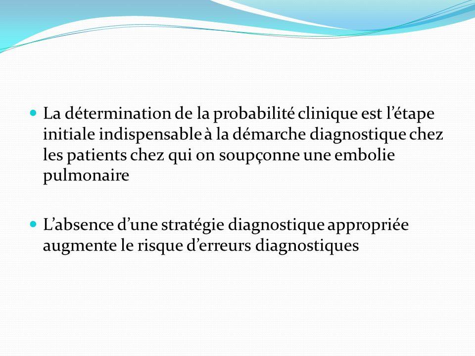 La détermination de la probabilité clinique est l'étape initiale indispensable à la démarche diagnostique chez les patients chez qui on soupçonne une embolie pulmonaire