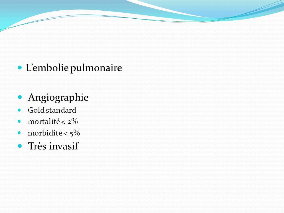 L'embolie pulmonaire Angiographie Très invasif Gold standard