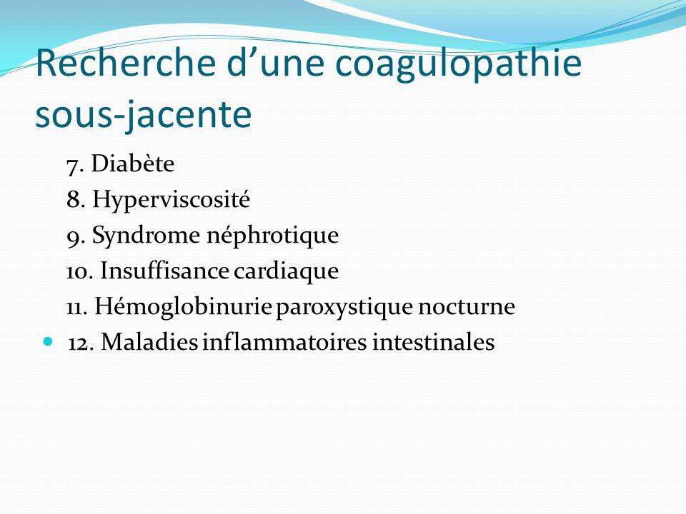 Recherche d'une coagulopathie sous-jacente