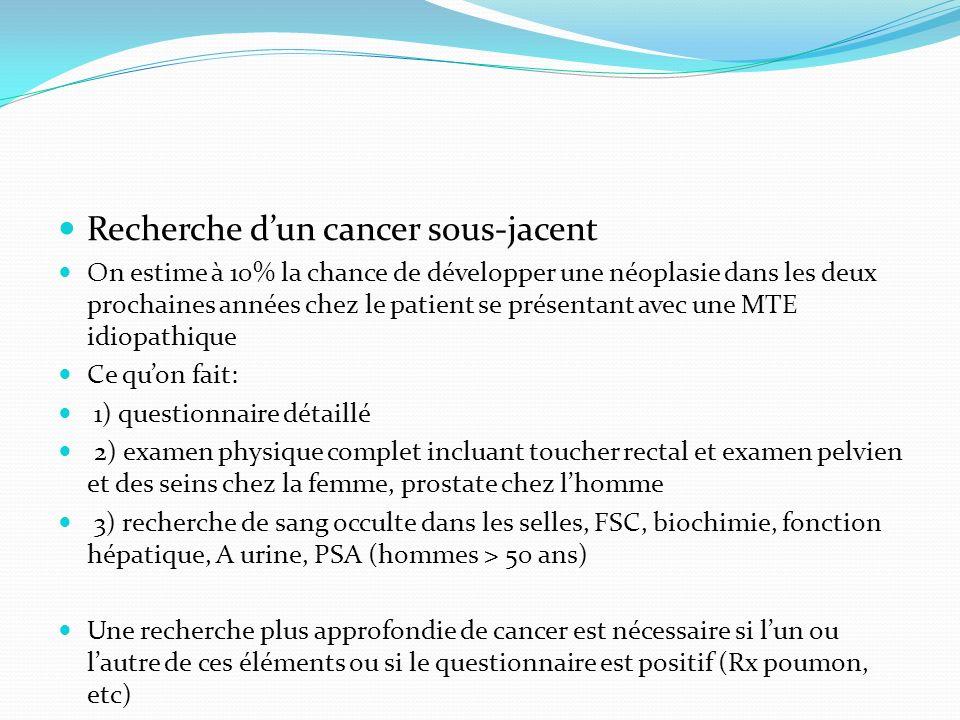 Recherche d'un cancer sous-jacent