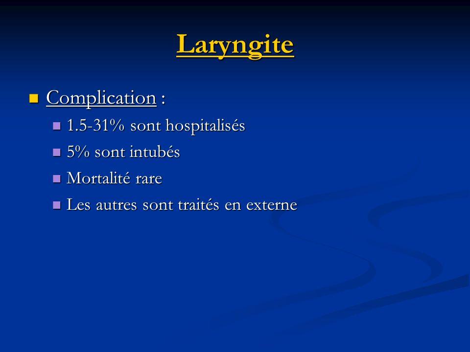 Laryngite Complication : 1.5-31% sont hospitalisés 5% sont intubés