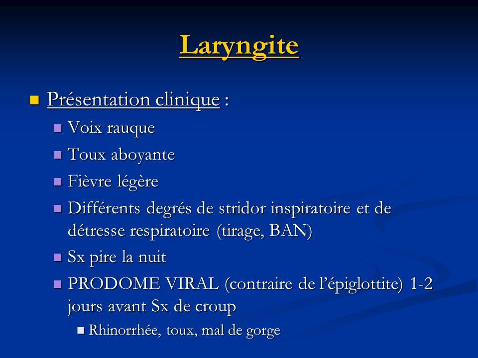 Laryngite Présentation clinique : Voix rauque Toux aboyante