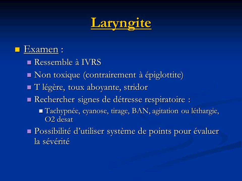 Laryngite Examen : Ressemble à IVRS
