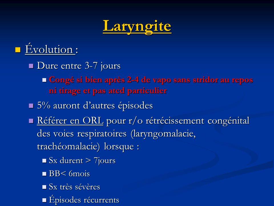 Laryngite Évolution : Dure entre 3-7 jours 5% auront d'autres épisodes