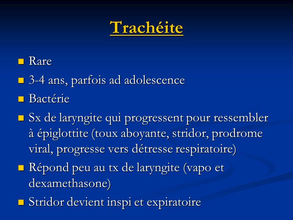 Trachéite Rare 3-4 ans, parfois ad adolescence Bactérie