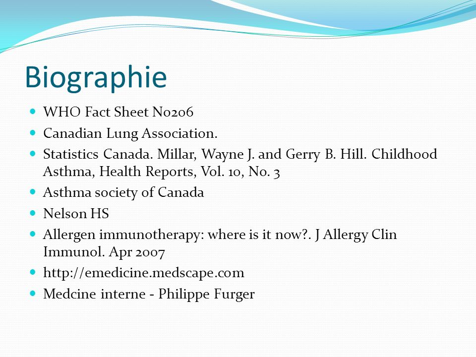 Biographie WHO Fact Sheet No206 Canadian Lung Association.