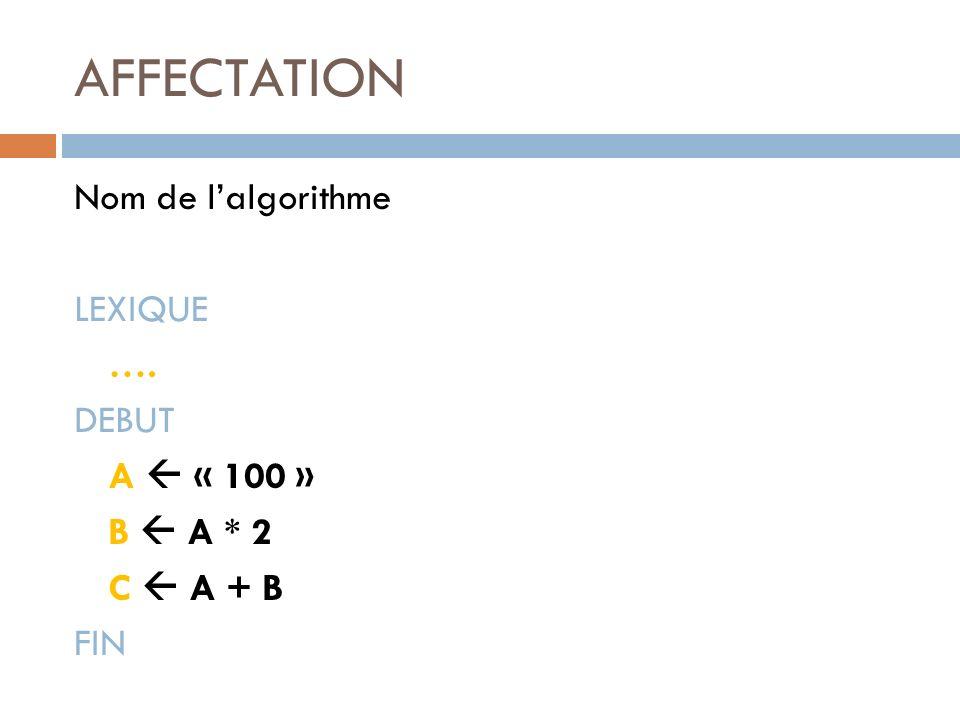 AFFECTATION Nom de l'algorithme LEXIQUE …. DEBUT A  « 100 » B  A * 2 C  A + B FIN