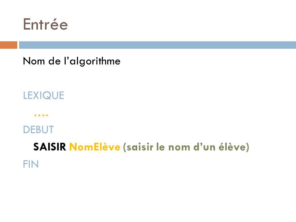 Entrée Nom de l'algorithme LEXIQUE …. DEBUT SAISIR NomElève (saisir le nom d'un élève) FIN