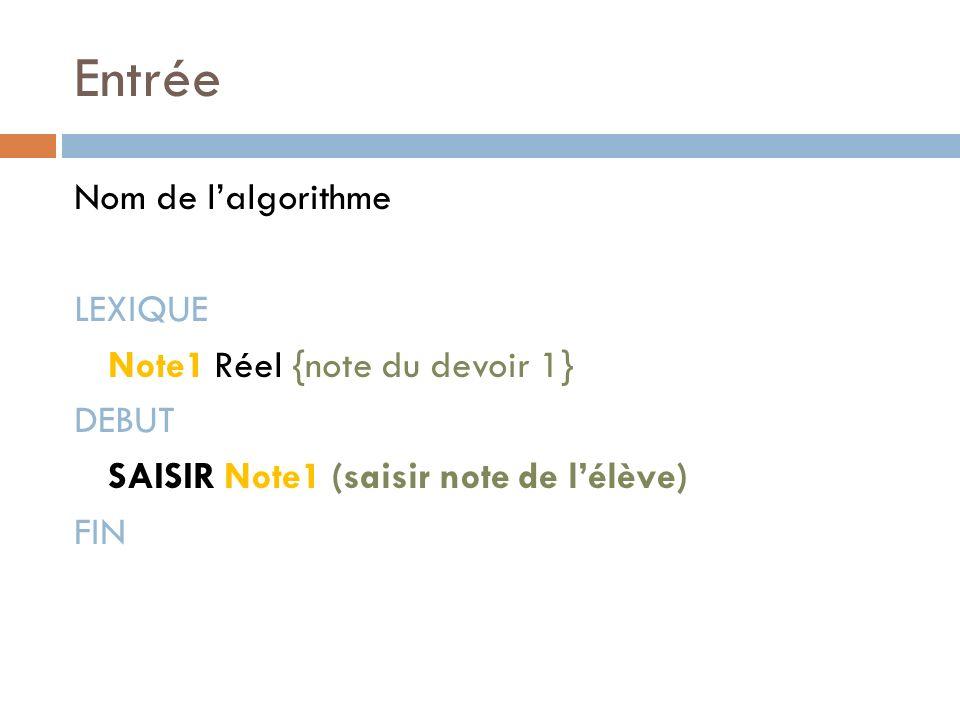 Entrée Nom de l'algorithme LEXIQUE Note1 Réel {note du devoir 1} DEBUT SAISIR Note1 (saisir note de l'élève) FIN