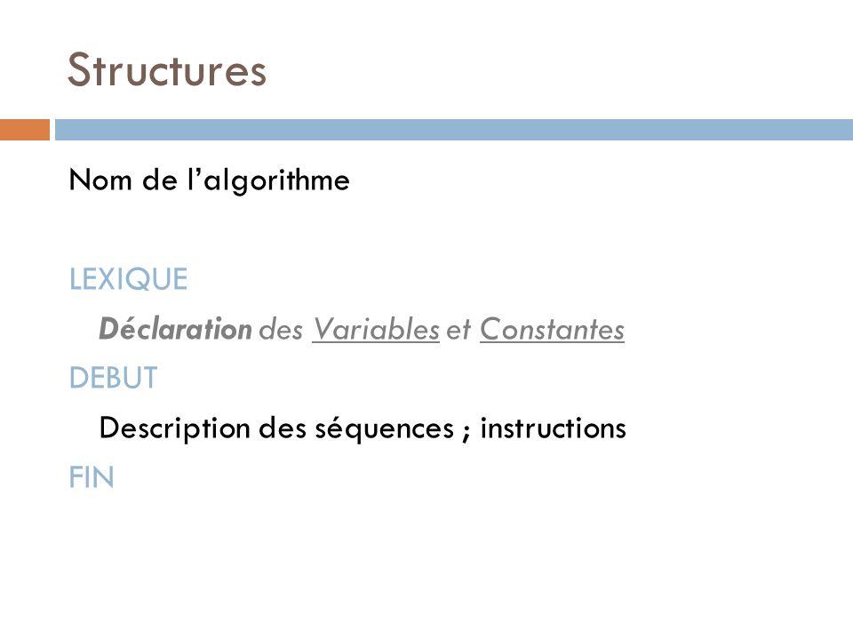 Structures Nom de l'algorithme LEXIQUE Déclaration des Variables et Constantes DEBUT Description des séquences ; instructions FIN