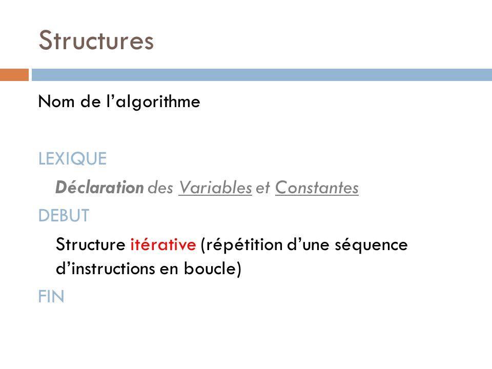 Structures Nom de l'algorithme LEXIQUE