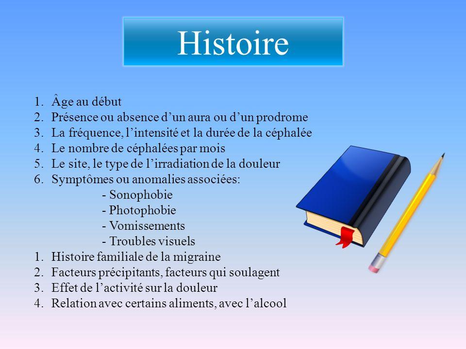 Histoire Âge au début Présence ou absence d'un aura ou d'un prodrome